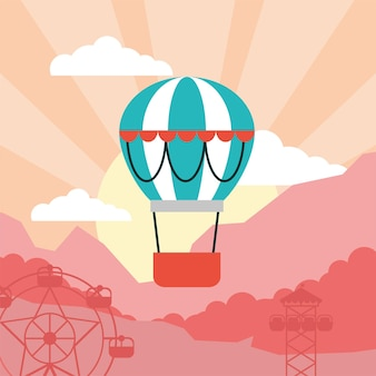 Hot air balloon floating in the sky