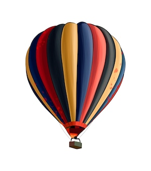 Hot air balloon from multicolored paints splash of watercolor colored drawing realistic
