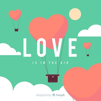 Hot air balloon heart background
