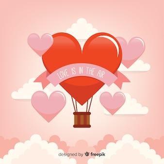 Hot air balloon heart background