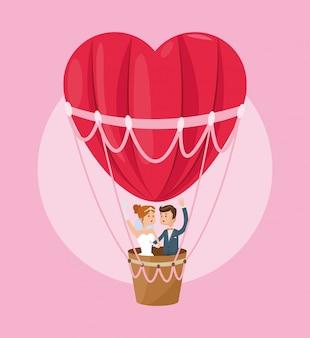 Hot air balloon heart couple cartoon