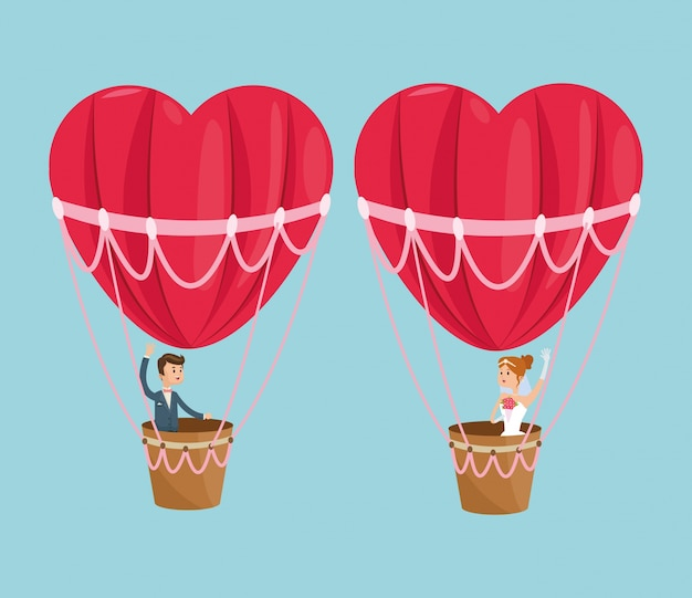 Hot air balloon heart couple