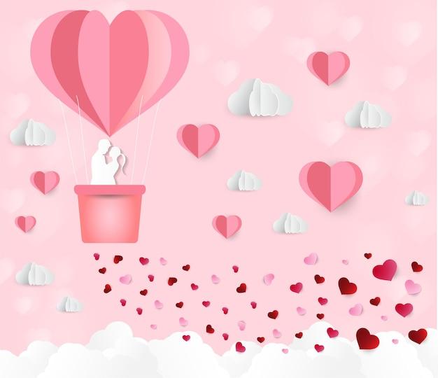 Воздушный шар в форме сердца бумажный арт стиль день святого валентина любовь