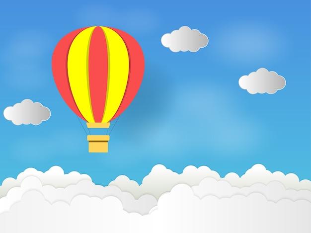 空の熱気球、紙アートコンセプト