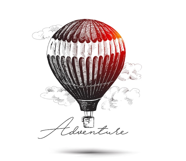 Hot air balloon isolated on white background  hand drawn sketch vector illustration
