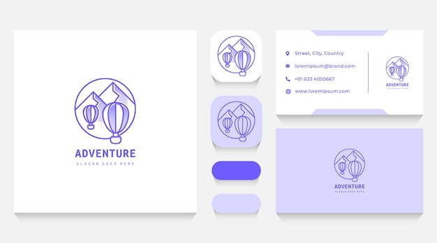Hot air balloon and mountains adventue logo template and business card