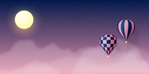 파스텔 하늘 배경 일러스트와 함께 뜨거운 공기 풍선 종이 아트 스타일