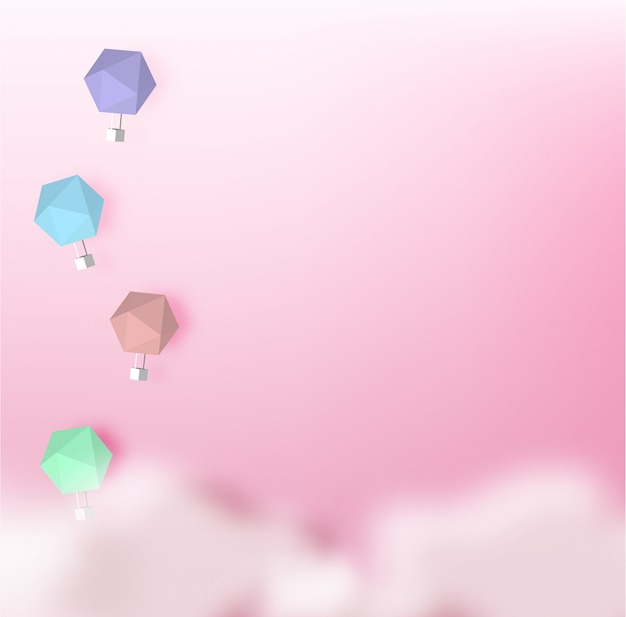Hot air balloon paper art style with pastel sky background