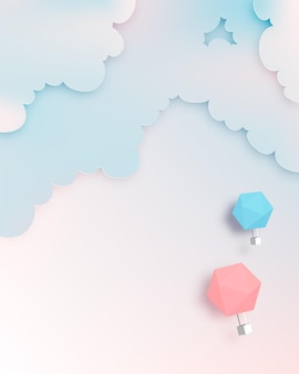 パステルカラーの空と熱気球ペーパーアートスタイル
