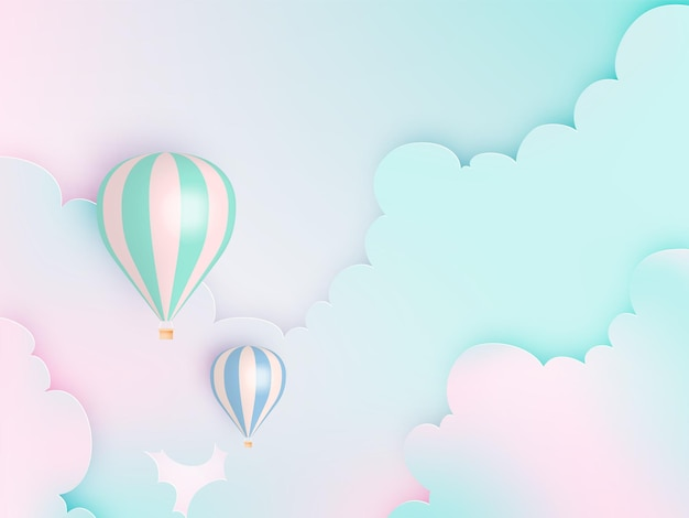 파스텔 스카이와 뜨거운 공기 풍선 종이 아트 스타일