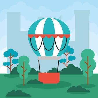 A hot air balloon in the park
