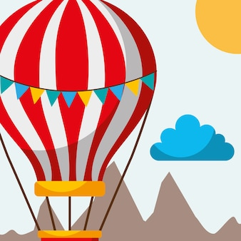 Hot air balloon pennants flying mountains funny travel