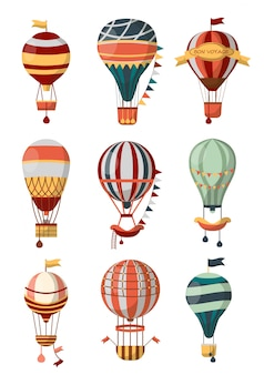 Hot air balloon retro icons with pattern, gondola and flags for bon voyage or open air balloon festival.