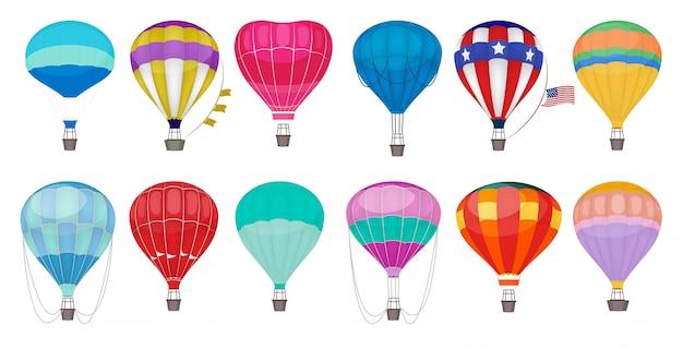 熱気球。空のコレクションで屋外のロマンチックなカラフルな空飛ぶエンターテイメント祭風船