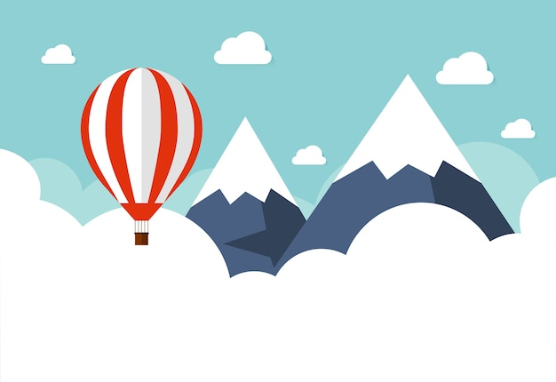 Hot air balloon in the sky with clouds. flat cartoon design.