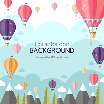 Hot air balloon travel background