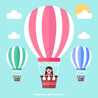 Фон путешествия на воздушном шаре
