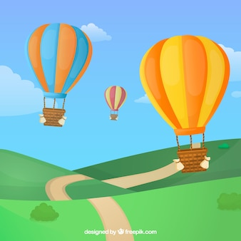뜨거운 공기 풍선 여행 배경