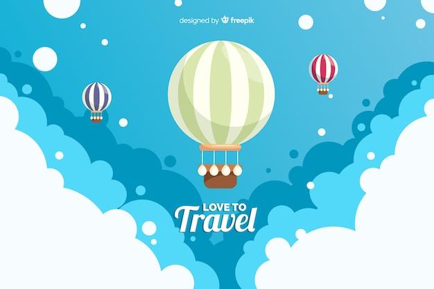 Sfondo di viaggio mongolfiera Vettore gratuito