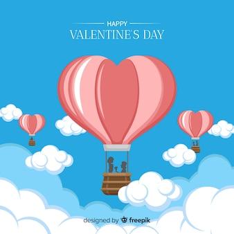 Hot-air balloon valentine background
