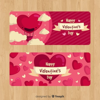 Hot air balloon valentine banner