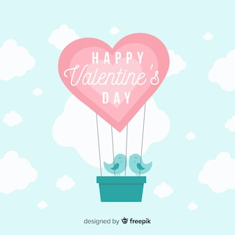 Hot-air balloon valentine's day background