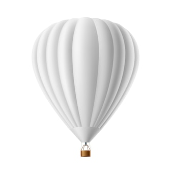 Hot air balloon white   isolated