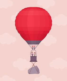 비행 중 비즈니스 사람들과 바위와 열기구. 나르기에 무거운 짐, 어려운 무게 또는 위험한 핸디캡은 좋은 출발과 발달을 방해하고 걱정과 어려움을 야기합니다. 벡터 일러스트 레이 션