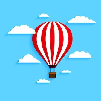 Воздушный шар с облаками. векторная иллюстрация