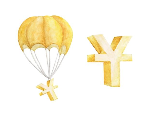 흰색에 고립 된 중국 위안의 황금 기호로 뜨거운 공기 풍선