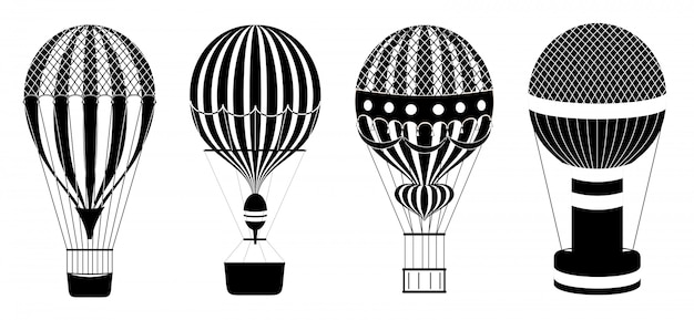 Hot air balloons or aerostats  set. illustration of travel flight transport. classic hot air balloons. black and white icons.