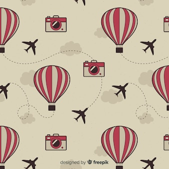 Hot air balloons and planes background