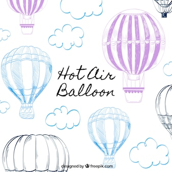 Hot air balloons background in hand drawn style