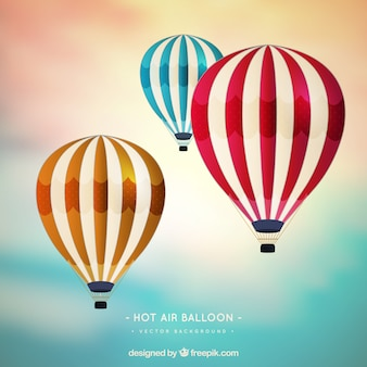 Hot air balloons background in realistic style