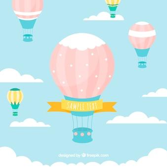 Фон с воздушными шарами в небе с облаками