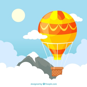 Hot air balloons background in the sky with clouds