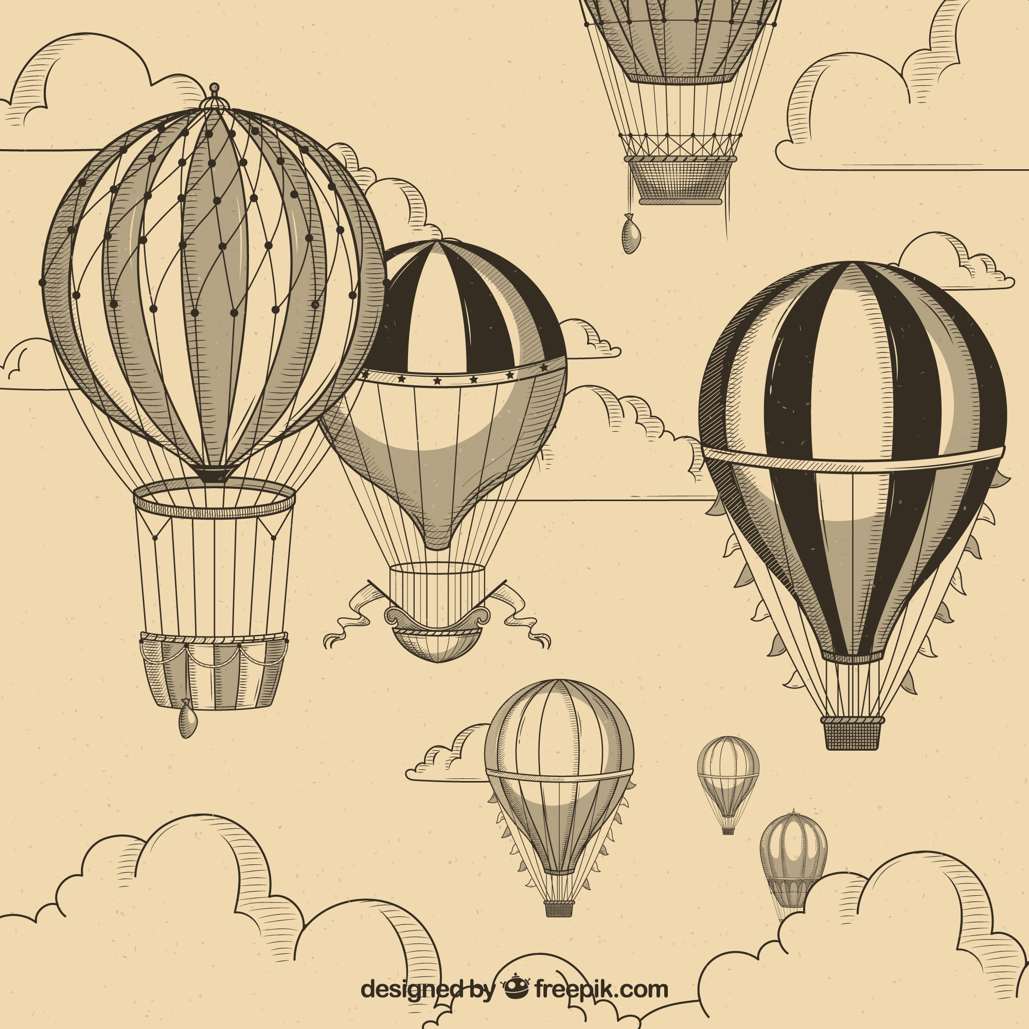 Hot air balloons background in vintage style