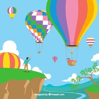 Фон с воздушными шарами с ландшафтом