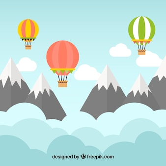 Hot air balloons background with landscape