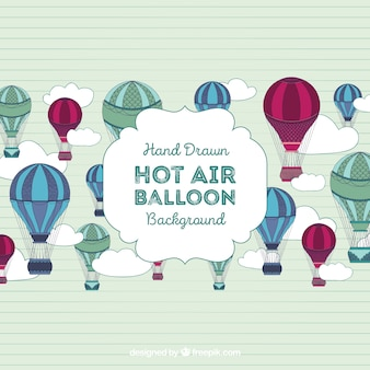 Hot air balloons background with many colors
