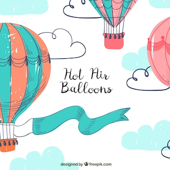 Hot air balloons background with sky in hand drawn style