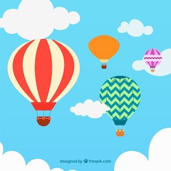 Фон с воздушными шарами с небом в ручном стиле