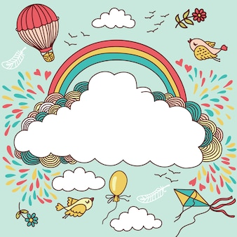 熱気球、鳥、雲、虹。あなたのテキストのための場所の図
