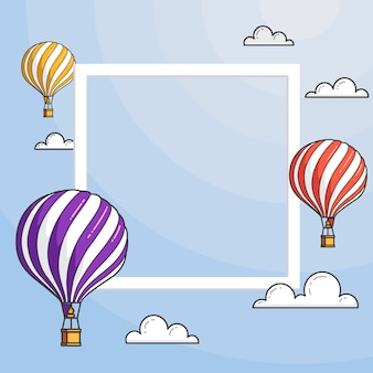 Hot air balloons in blue sky with clouds, frame, copyspace. flat line art vector illustration.abstract skyline.concept for travel agency, motivation, business development, greeting card, banner, flyer