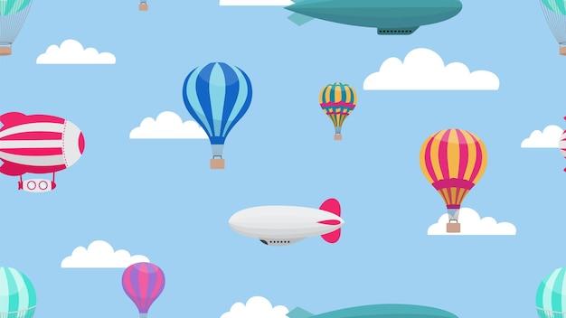 Hot air balloons. cartoon air transport seamless pattern.