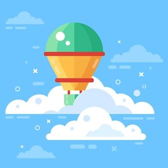 구름이 있는 하늘의 열기구 비행 풍선과 흰 구름 플랫 벡터가 있는 푸른 하늘