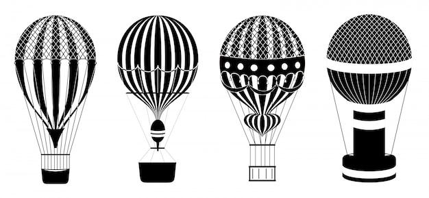 熱気球またはエアロスタットセット。旅行飛行輸送のイラスト。クラシックな熱気球。黒と白のアイコン。