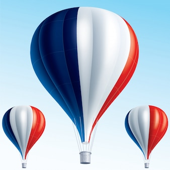 Hot air balloons painted as france flag