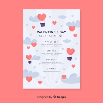 Hot-air balloons valentine's day menu template