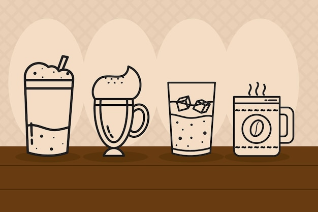 ホットとコールドのコーヒー飲料のイラスト Premiumベクター
